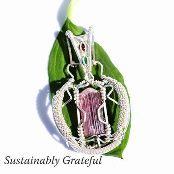 Tourmaline Pendant, Pink Tourmaline, Wire Wrapped Pendant, Heady Wrap, Pink Tourmaline Jewelry, Tourmaline Necklace, Handmade Tourmaline Zen