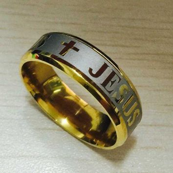 CREYCI7 High quality large size 8mm 316 Titanium Steel silver gold color jesus cross Letter bible wedding band ring men women