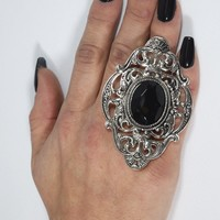 Victorian Gothic Black Crystal Stone Dark Beauty Cocktail Ring