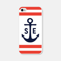 Personalized iPhone Case - Monogram iPhone Case - Monogram iPhone 4 Case Monogram iPhone 5 Case Anchor iPhone 5c Case Red Blue 4th of July