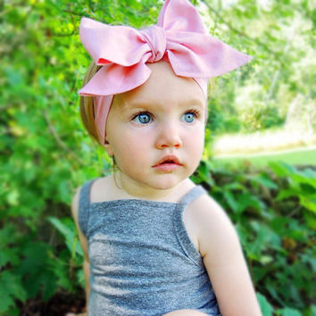 Summer big bowknot fabric flower hair head band bows wrap accessories for baby girl kids turban headband hair ornaments