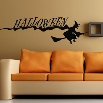 Wall Decals Vinyl Decal Sticker Halloween Witch On a Broom Kids Room Decor KG808