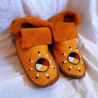Moccasins, Short Moccasins Custom Made to Order with Hand Beaded Design, Native American, Powwow, Regalia, Mountain Man, Rendezvous
