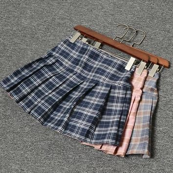 Women Pleat Skirt Harajuku Preppy Style Plaid Skirts Mini Cute School Uniforms Ladies Elastic Kawaii Skirt Saia Faldas SK8746