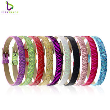 "10PCS 8MM PU Leather Glint DIY Wristband Bracelets "" Can Choose the Color"" Fit Slide Letter C003  LSBR06*10--LSBR06-10*10"