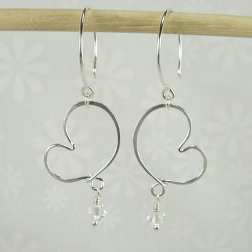 Cherish Silver Heart Earrings with Crystals
