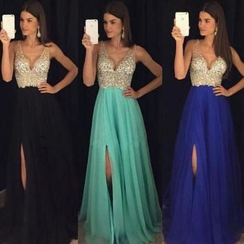 Fashion Women Patchwork V Neck Backless Formal Slim Sequins Dress Long Maxi Dress Charming Long Party Sexy Prom