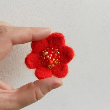 Orange Wool Felt Little Flower Pin - Woodland Blossom  - Orange and Golden Yellow Colored Beads - Christmas gift idea for her