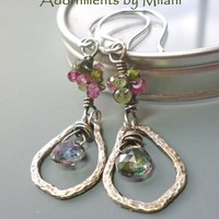 Green Pink Gemstone Beaded Earrings Artisan Topaz Tourmaline Soliloquy