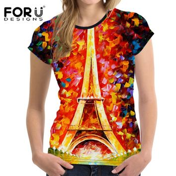 FORUDESIGNS Eiffel Tower Prints T-shirt Women t shirt harajuku Tops for Girls Tee Shirt Femme Summer Best Friends ladies T Shirt