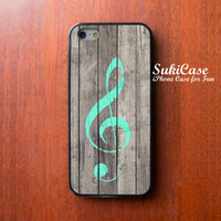 WOOD IPHONE 4 CASE Mint G Clef on Slat iPhone 5s Case iPhone 5 Case iPhone Case Samsung Galaxy S4 S3 Cover iPhone 5c cases iPhone 4s case