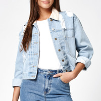 Kendall and Kylie Printed Collar Ripped Denim Jacket at PacSun.com