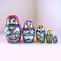 Russian Nesting Dolls Sailors Ceramic Matryoshka Nautical Decor Folk Art Painted Octopus Whale Mermaid - READY TO SHIP