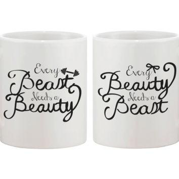 Every Beauty Needs a Beast Romantic Matching Coffee Mugs- Cute Couple Mug