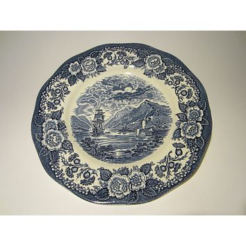 Lochs Of Scotland Blue White Signature Seascape Transfer Hand Decorated Plate