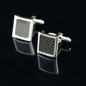 Stainless Steel Silver Square Vintage Wedding Gift Cuff Links