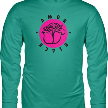 Comfort Colors Amor Black Long Sleeve Tee - Chalky Mint