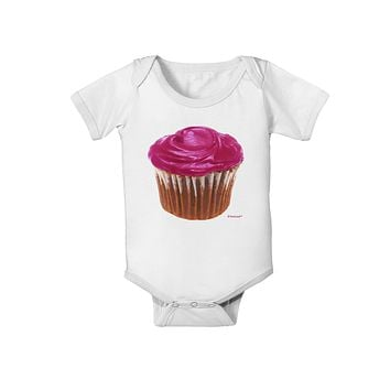 Giant Bright Pink Cupcake Baby Romper Bodysuit by TooLoud