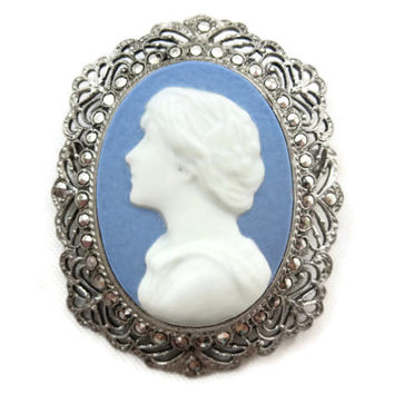 Cameo Necklace Pendant or Brooch - Blue & White Jasperware, Sterling Silver Filigree, Marcasites, Estate Jewelry