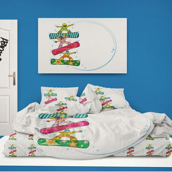 """Snowboard Comforter """"Extremely Stoked Kids"""" from Extremely Stoked Snowboard Bedding"""