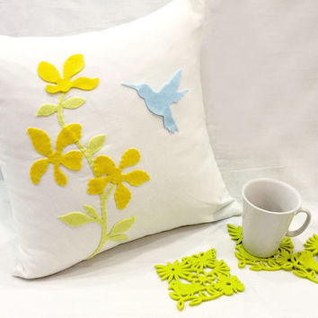 Housewarming Gift Set. Humming Bird Floral White Pillow Cover. With 6 Pieces Botantical Garden Lime Green Felt Coasters Set