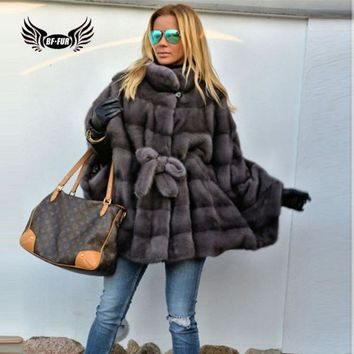 BFFUR Mink Coats For Women Clothes Genuine Slim Fur Plus Size Full Pelt Casual Long Natural Fur Coat Fashion Clothing Slim Solid