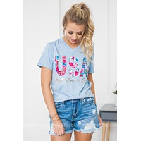 USA Best Place Ever Floral Tee