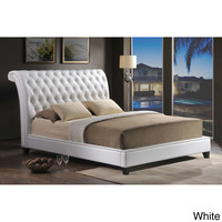 Jazmin Tufted White Modern Bed with Upholstered Headboard | Overstock.com