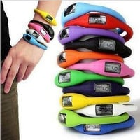 AT Fashion Sports Digital Silicone Rubber Jelly Anion Bracelet Wrist Watch C3