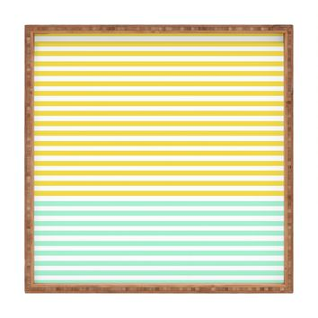 Allyson Johnson Mint And Chartreuse Stripes Square Tray