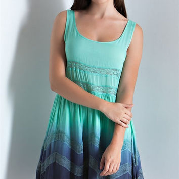 Boho Lace Tie Dye Faded Ruffle Dress