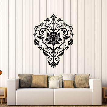 Vinyl Wall Decal Lotus Flower Floral Art Pattern Ornament Stickers Unique Gift (286ig)