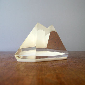 Vintage Lucite / Resin Geometric Mountain Sculpture