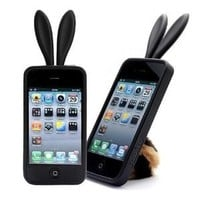 Black-Bunny Rabit Silicone Case Skin for Iphone 4 Stand Tail Holder