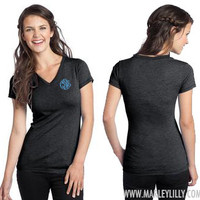 Monogrammed Tri-Blend VNeck Tee | Ladies Wear | Marley Lilly