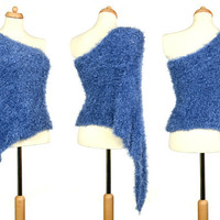 Convertible Poncho / Scarf / Skirt - Eco Friendly Violet Knitted Accessory Made Of Recycled Yarn