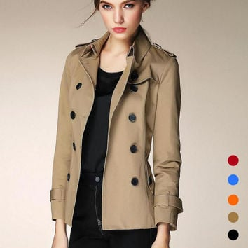2016 Hansome British Style Fashion Casual Long Sleeve Short Double Breasted Slim Trench 5 Color Wautumn Winter Plus Size Xl D205