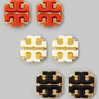 Enamel Double-T Stud Earrings,