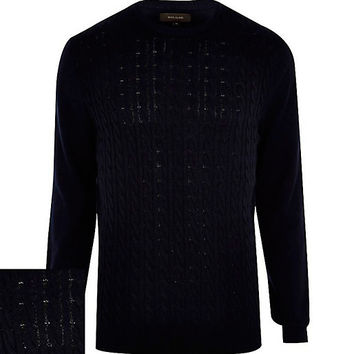 River Island MensNavy blue cable knit sweater