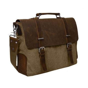 "Men's Vintage Canvas Leather 14.7"" Laptop Messenger Bag"
