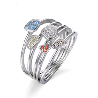 Multicolor 4Pcs Stackbale Ring Sets Solid 925 Sterling Silver