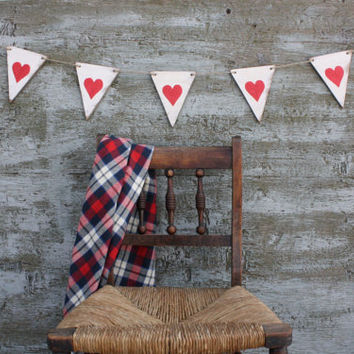 FREE SHIP Wood Pennant Heart Valentine's Day Banner Love Garland Wood Tags Signs