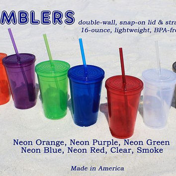 Blank Tumblers, Wholesale Blanks, Spiker USA Blank Cups, 10 Double Walled Plastic Cups, Travel Mug Snap on Lid Straw, BPA Free Cup Lot of 10