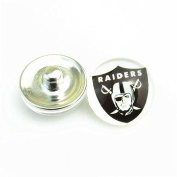 20pcs/lot Hot sell Sports Oakland Raiders Team Logo Football Snap Button fit 18mm Glass Snap Bracelet Jewelry