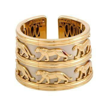 Cartier Panthere Yellow and White Gold Two-Row Cuff Bracelet