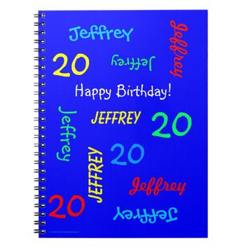 20th Birthday Party Blue Guest Book, Repeat Names Notebook