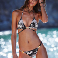 Bamboo leaves Print Bikini swimsuit B0016491