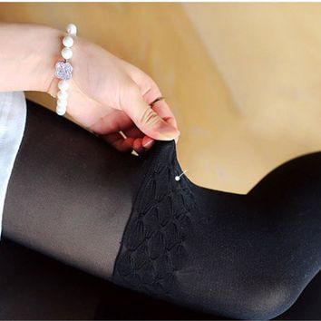2017 Cute Girl Women Sexy Sheer False High Stocking Panty hose Fashion Over the Knee Wave Pattern Tights