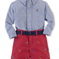 Ralph Lauren Baby Boys' 2-Piece Oxford Shirt & Chino Shorts Set