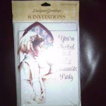 DESIGNER GREETINGS FIRST COMMUNION PARTY INVITATIONS FOR A GIRL;8 INVITATIONS